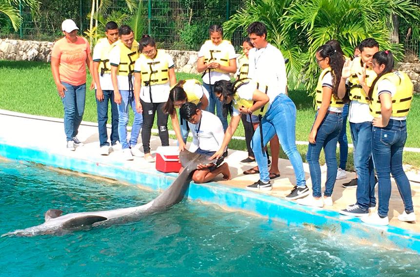 Grupo de estudiantes con un delfin