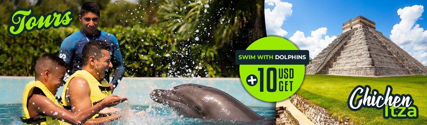 Combo Swim With Dolphins Plus Tour To Chichen Itza.