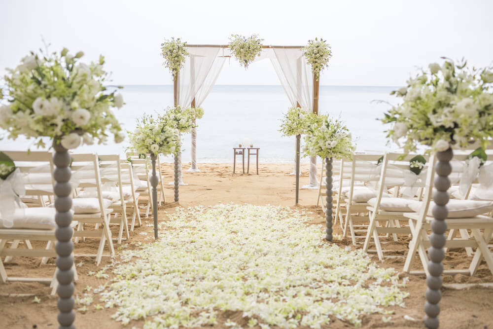 Beach weddings set up.