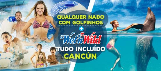 Combo nado com golfinhos mais Wet n Wild Cancun.