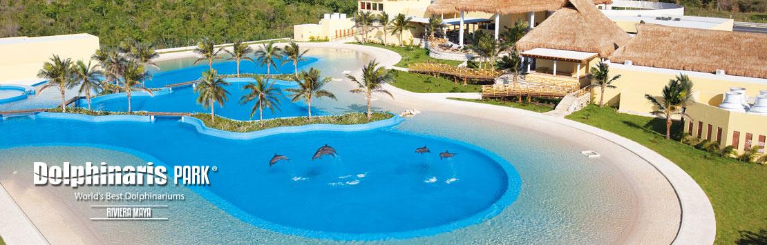 Nada com golfinhos em Dolphinaris Riviera Maya Park Mexico