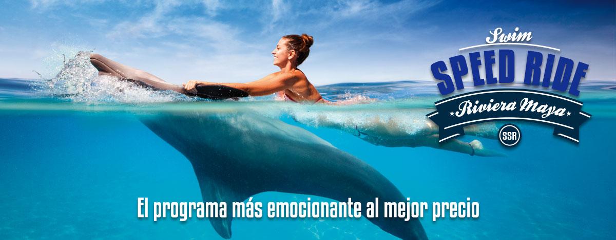 Programa de nado con delfines - Swim Speed Ride en Dolphinaris Riviera Maya Park.