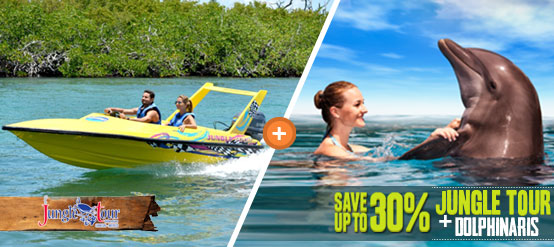 Swim with dolphins plus Jungle Tour combo package deal