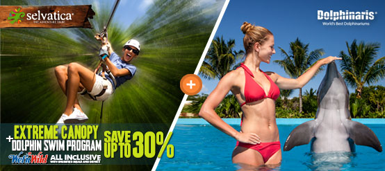 Swim with dolphins plus Wet'n Wild and Selvatica Extreme Canopy tour package deal.