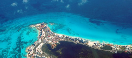 A great view of Cancun from the air